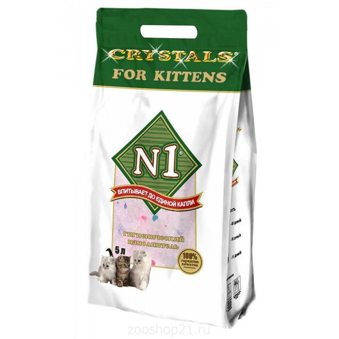 N1 Силикагелевый наполнитель для котят, 5л (Crystals for Kittens), 2 кг
