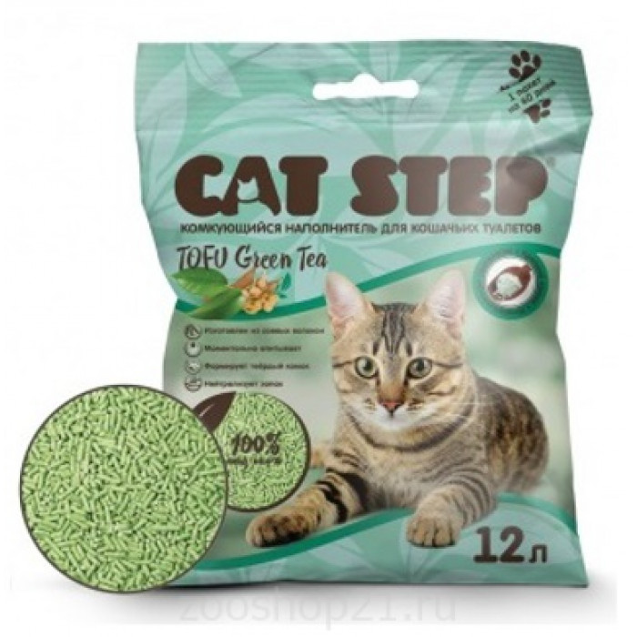 CAT STEP Tofu Green Tea растительный комкующийся, 12 л