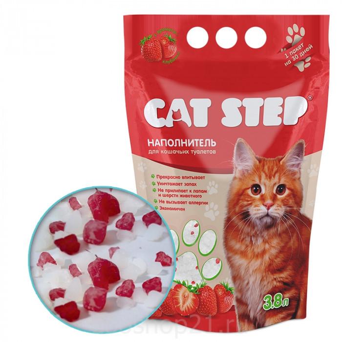 CAT STEP силикагелевый с ароматом клубники, 3.8 л