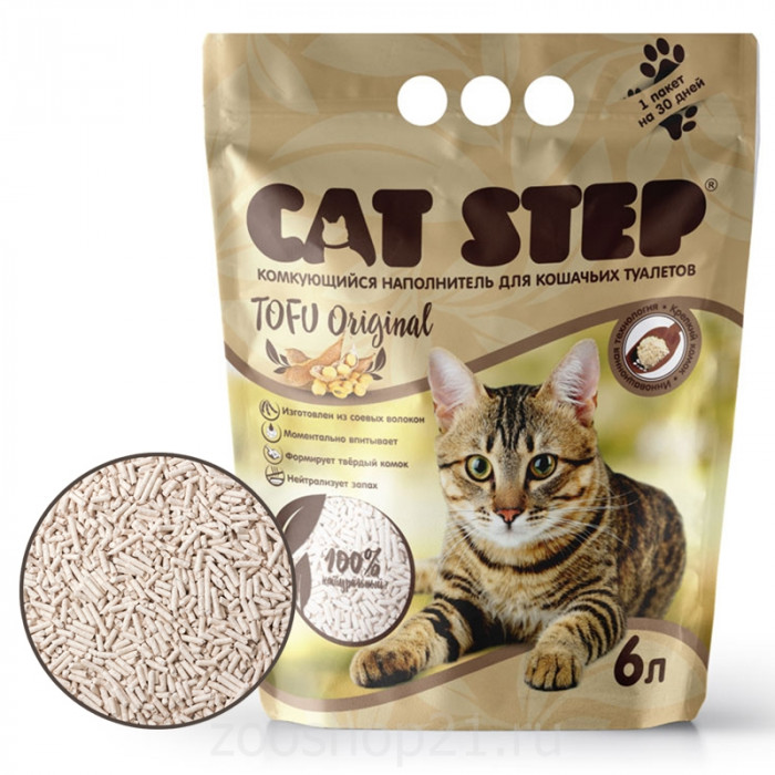 CAT STEP Tofu Original растительный комкующийся, 6 л