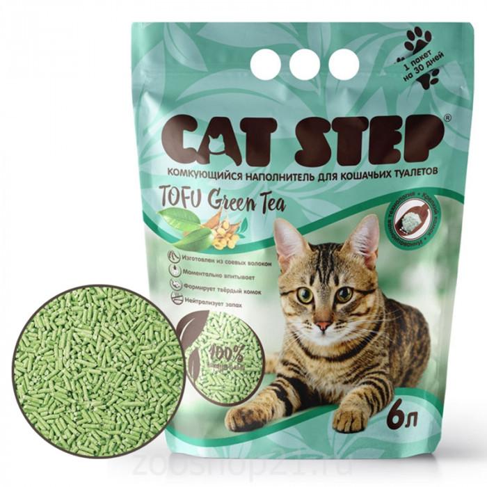 CAT STEP Tofu Green Tea растительный комкующийся, 6 л