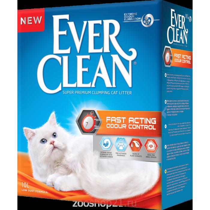 """Ever Clean Комкующийся наполнитель """"Мгновенный контроль запахов"""", Fast Acting, 10 л"""
