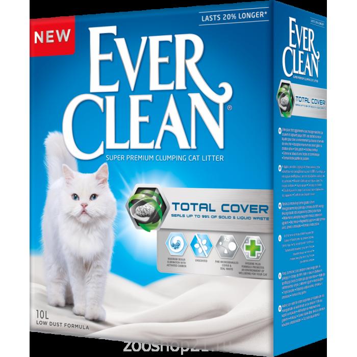 Ever Clean Комкующийся наполнитель с активированным углем, без запаха, Total Cover 10 л