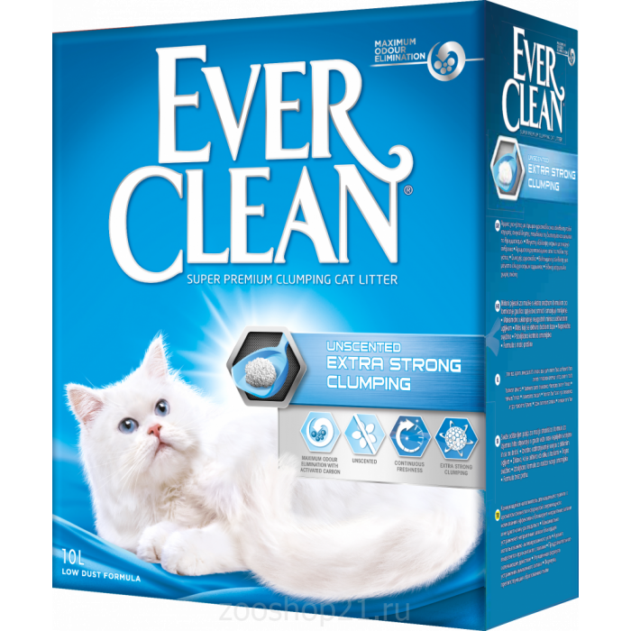 Ever Clean Комкующийся наполнитель без аромата, Extra Strong Clumping Unscented, 10 кг