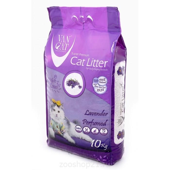 Van Cat Комкующийся наполнитель без пыли с ароматом Лаванды пакет, 10 кг
