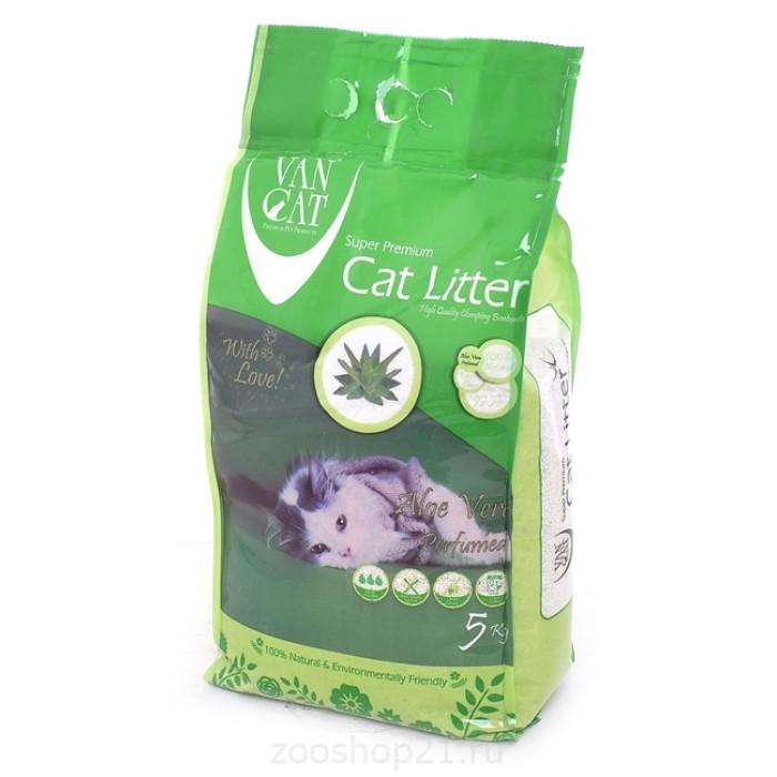 Van Cat Комкующийся наполнитель без пыли с ароматом Алое вера пакет, 5 кг