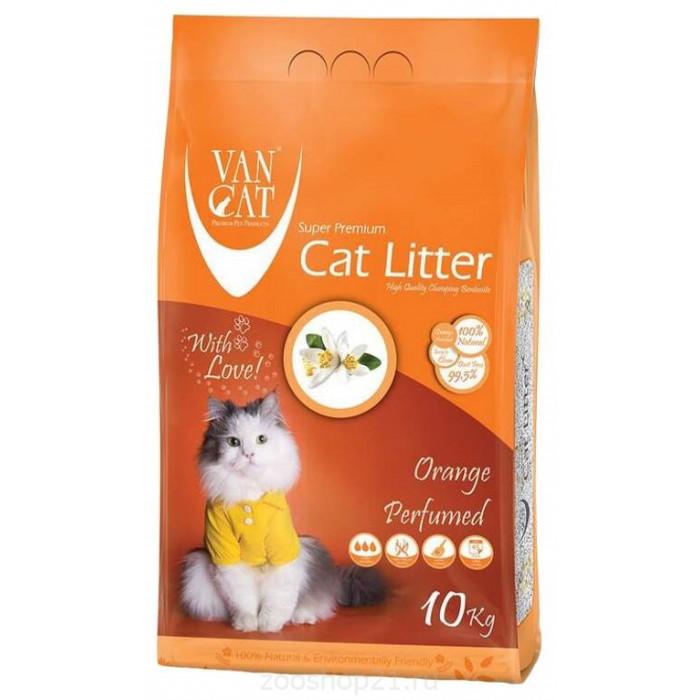 Van Cat Комкующийся наполнитель без пыли с ароматом Апельсина пакет, 10 кг