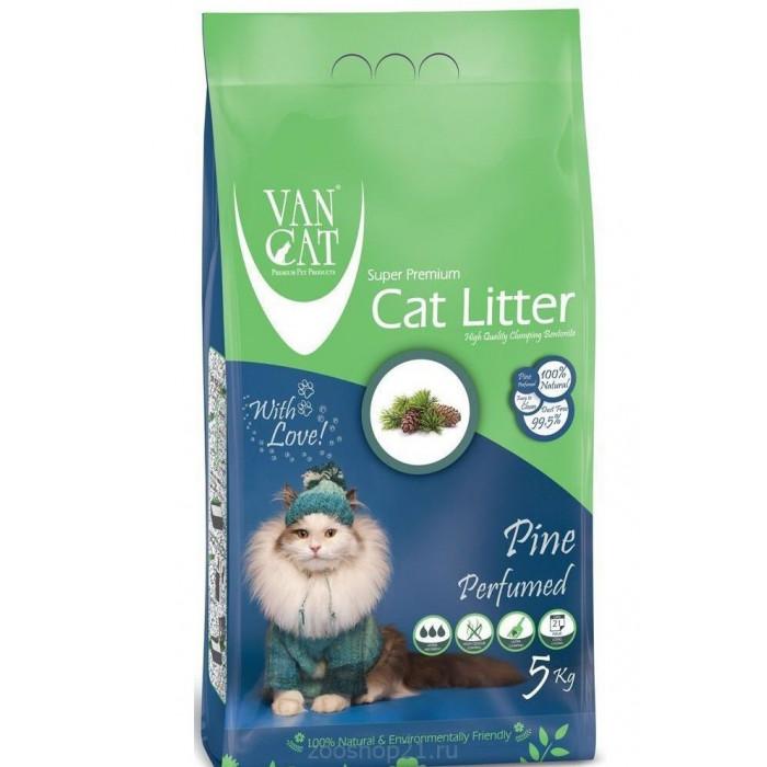 Van Cat Комкующийся наполнитель без пыли с ароматом Соснового леса пакет, 5 кг