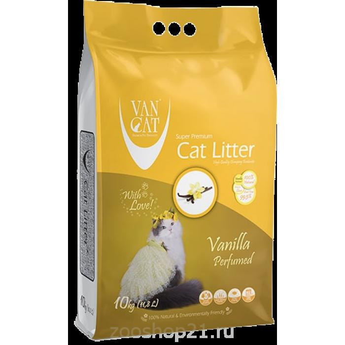 Van Cat Комкующийся наполнитель без пыли с ароматом Ванили пакет, 10 кг