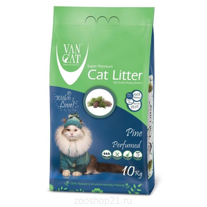 Van Cat Комкующийся наполнитель без пыли с ароматом Соснового леса пакет, 10 кг