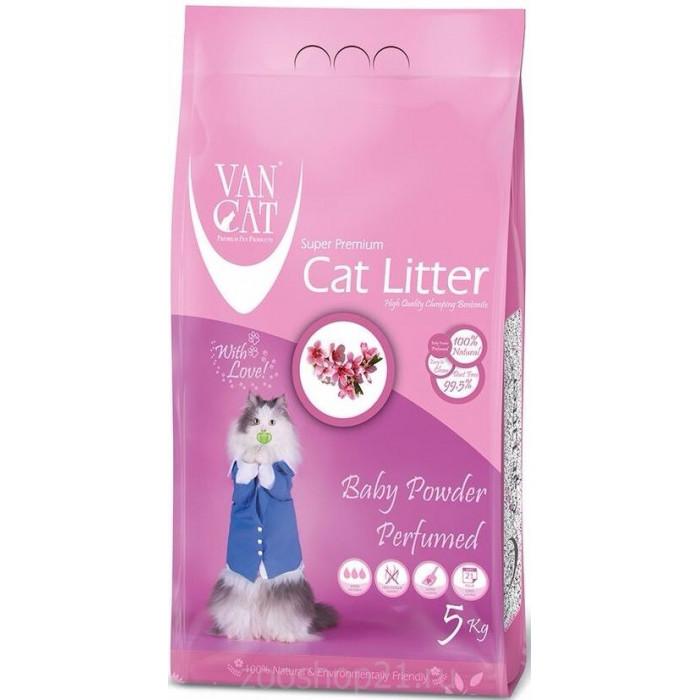 Van Cat Комкующийся наполнитель без пыли с ароматом Детской присыпки пакет, 5 кг