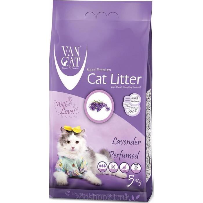 Van Cat Комкующийся наполнитель без пыли с ароматом Лаванды пакет, 5 кг
