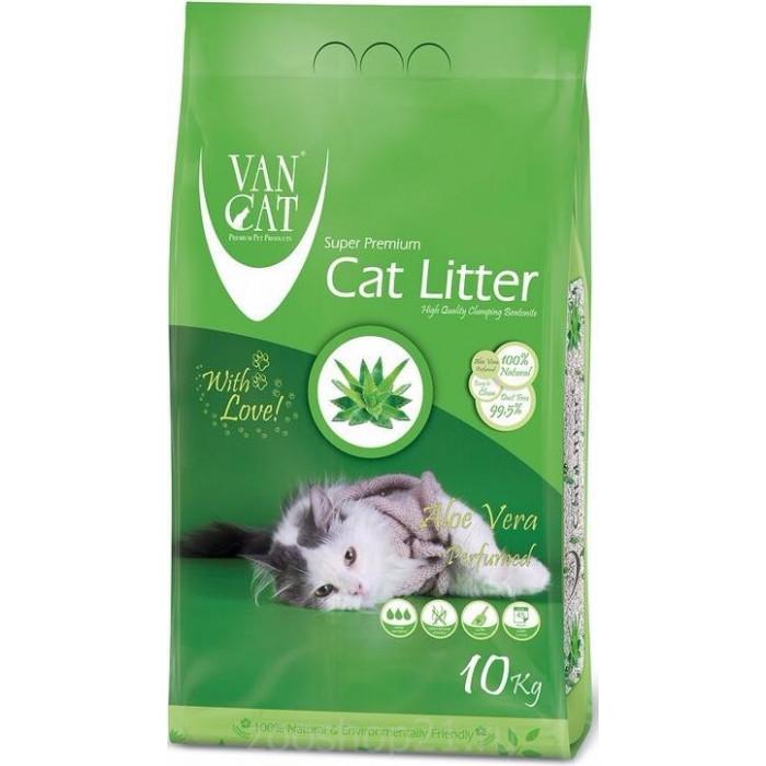 Van Cat Комкующийся наполнитель без пыли с ароматом Алое вера пакет, 10 кг