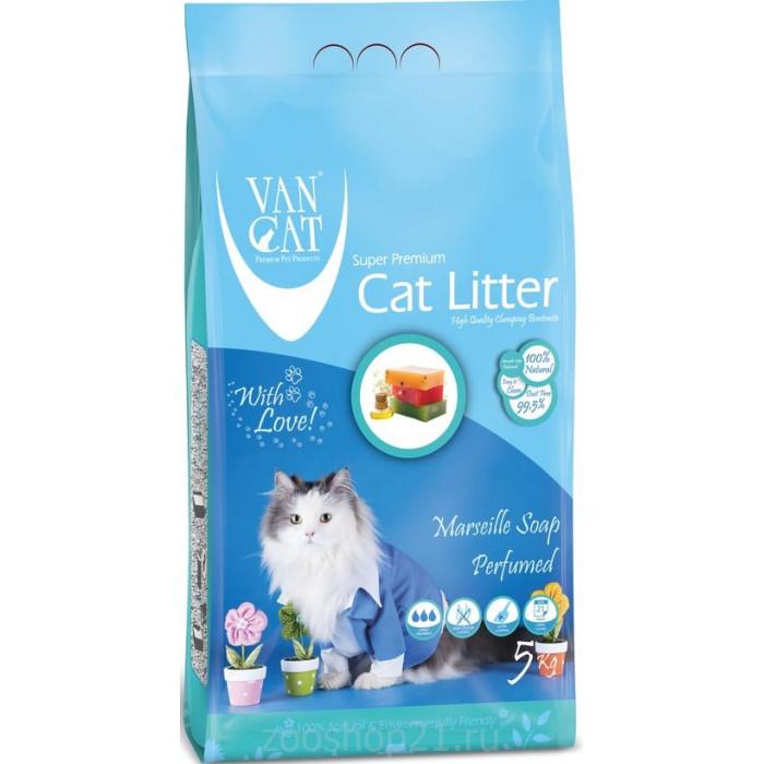 Van Cat Комкующийся наполнитель без пыли с ароматом Марсельского мыла, 5 кг