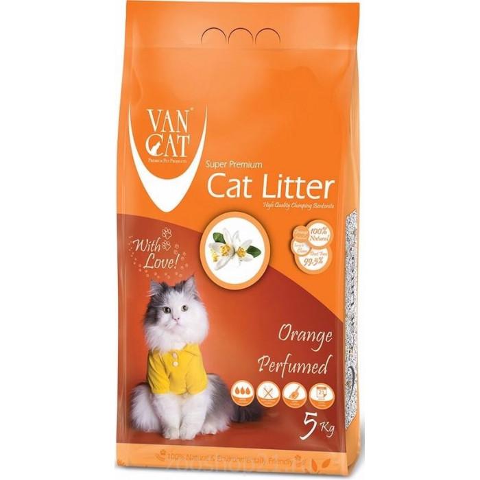Van Cat Комкующийся наполнитель без пыли с ароматом Апельсина пакет, 5 кг