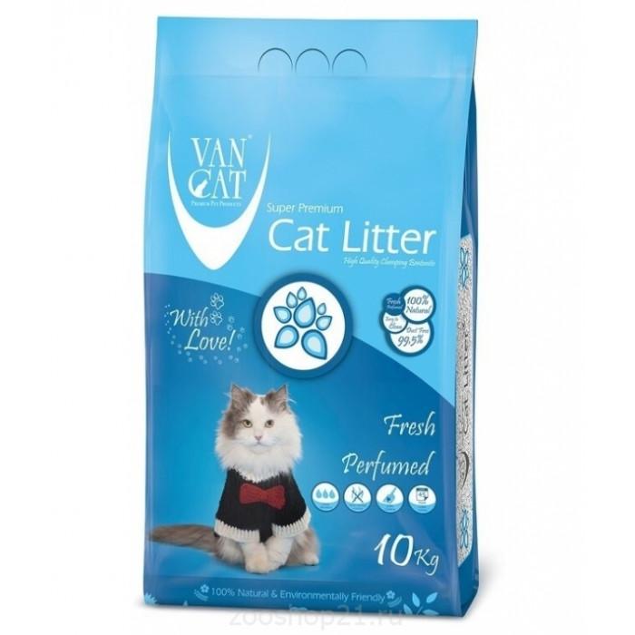 Van Cat Комкующийся наполнитель без пыли с ароматом Весенней свежести пакет, 10 кг