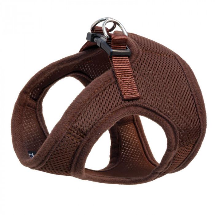 Комплект мягкая шлейка-жилетка и поводок нейлоновый коричневый S, обхват груди 350мм, поводок 15*120