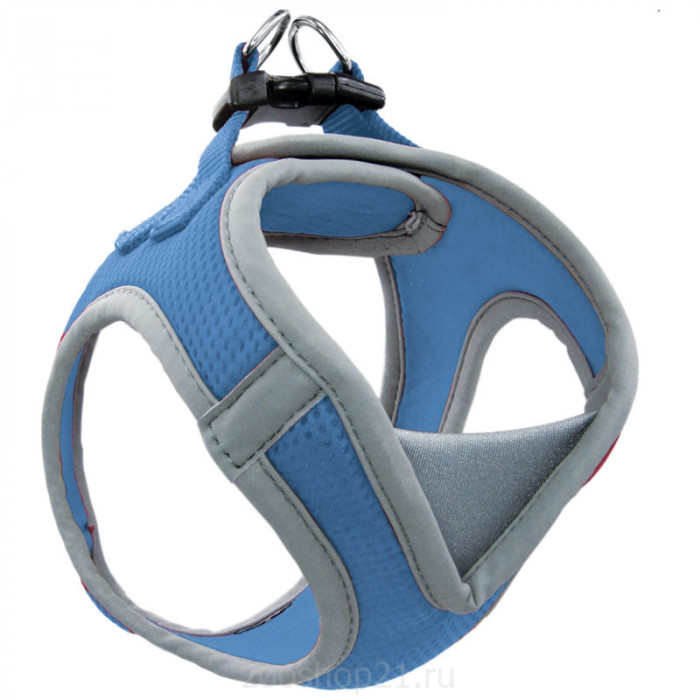 Мягкая шлейка-жилетка нейлоновая синяя S, обхват груди 360-410мм