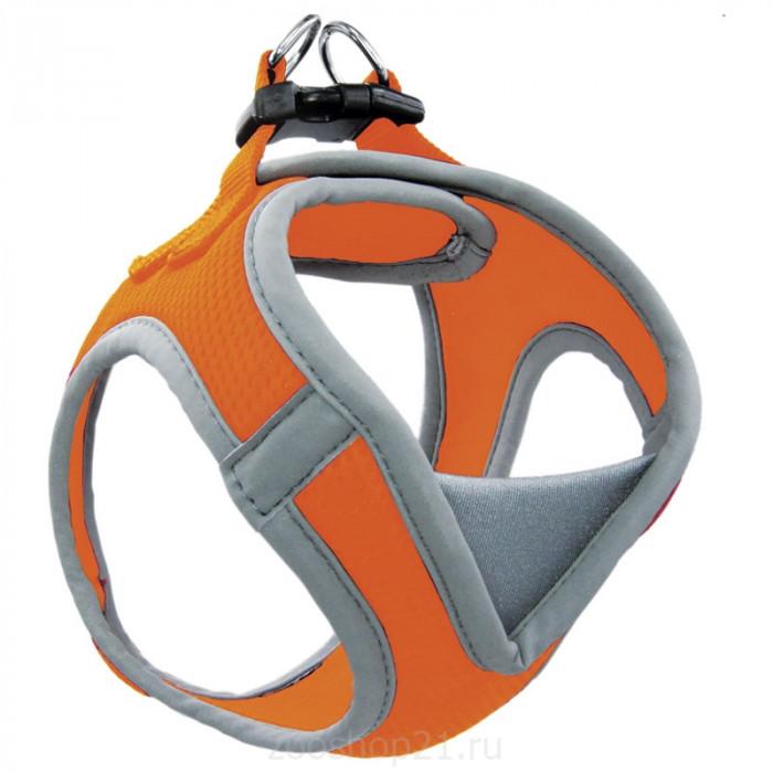 Мягкая шлейка-жилетка нейлоновая оранжевая M, обхват груди 410-460мм