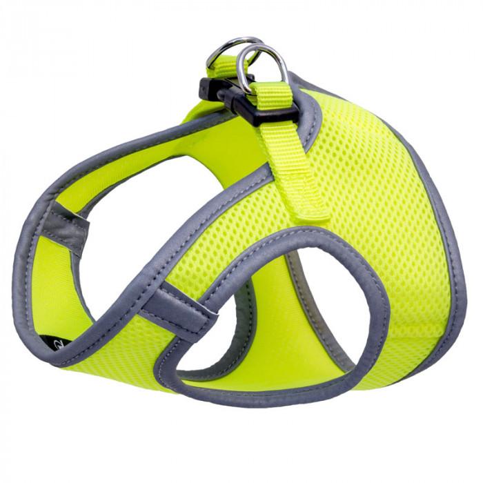 Комплект мягкая шлейка-жилетка и поводок нейлоновый неоново-желтый M, обхват груди 400мм