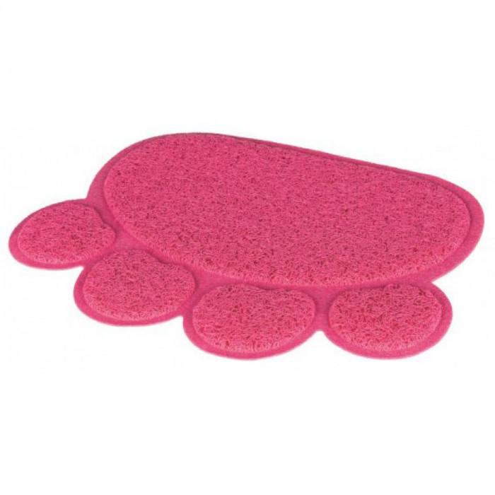 Коврик под туалет в форме Лапы ПВХ розовый, 40х30 см