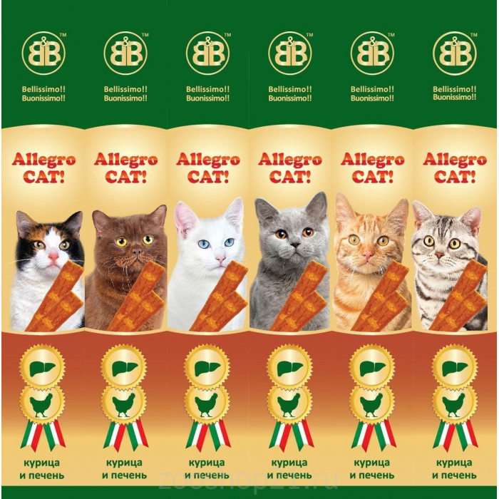 B&B Allegro Cat Колбаски для кошек Курица/Печень 6 шт