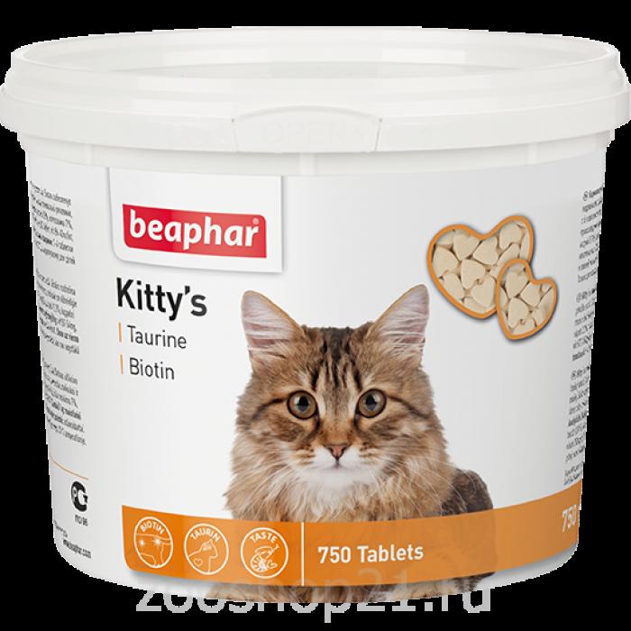 Beaphar Витамины д/кошек с таурином и биотином, сердечки (Kitty's Taurine + Biotin), 750 шт