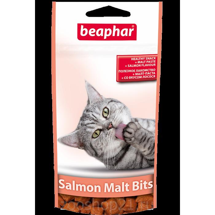 Beaphar Лакомство для вывода шерсти, лосось (Malt Bits Salmon), 75 шт