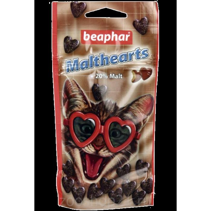 """Beaphar Лакомство """"Сердечки"""" для вывода шерсти (Malt Hearts + 20 % malt), 150 шт."""