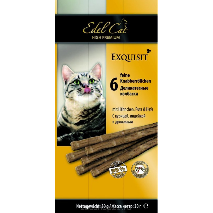 Edel Cat Колбаски для кошек с курицей, индейкой и дрожжами 6 шт, 0.03 кг