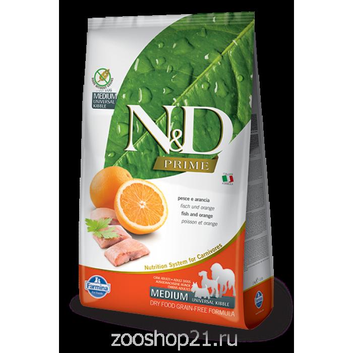 Корм Farmina N&D Fish & Orange Adult беззерновой для взрослых собак всех пород рыба с апельсином, 12 кг