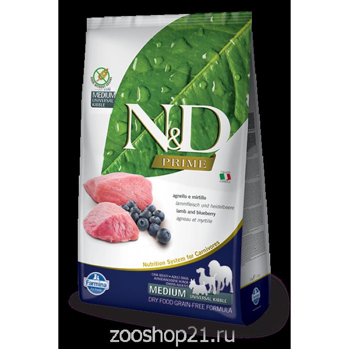 Корм Farmina N&D Lamb & Blueberry Adult беззерновой для взрослых собак всех пород ягненок с черникой, 12 кг