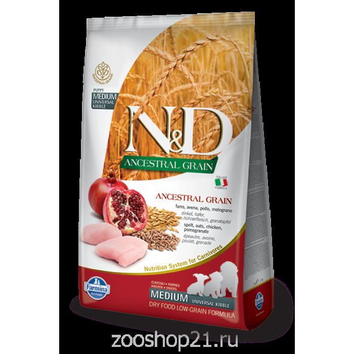 Корм Farmina N&D (Low Grain) Chicken & Pomegranate Puppy для щенков с низким содержанием зерна курица с гранатом, 12 кг
