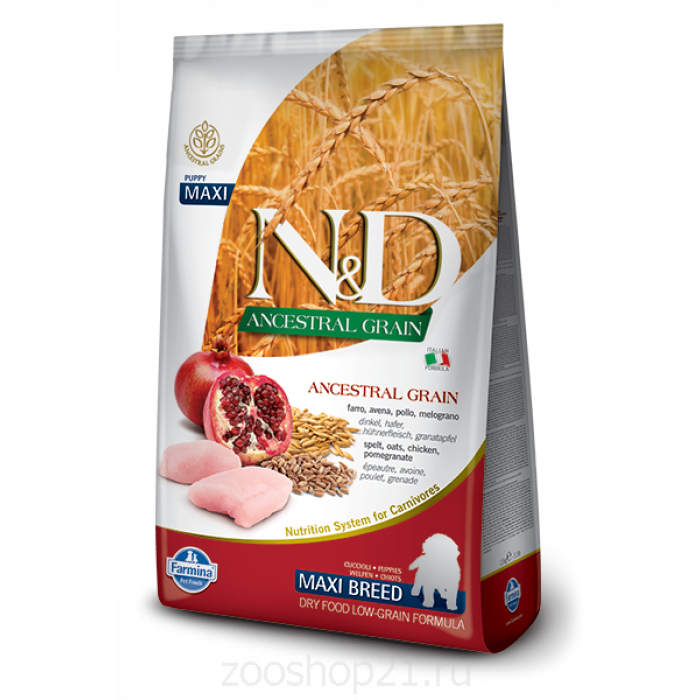 Корм Farmina N&D (Low Grain) Chicken & Pomegranate Puppy Maxi для щенков крупных пород с низким содержанием зерна, курица с гранатом, 12 кг