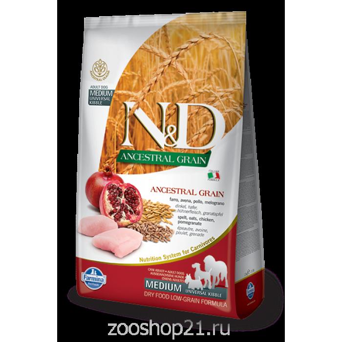 Корм Farmina N&D (Low Grain) Chicken & Pomegranate Adult для собак с низким содержанием зерна курица с гранатом, 12 кг