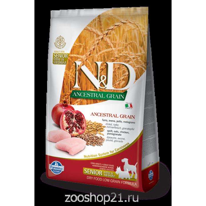 Корм Farmina N&D (Low Grain) Chicken & Pomegranate Senior Medium/Mini для пожилых собак средних и мелких пород с низким содержанием зерна курица с гранатом, 2.5 кг