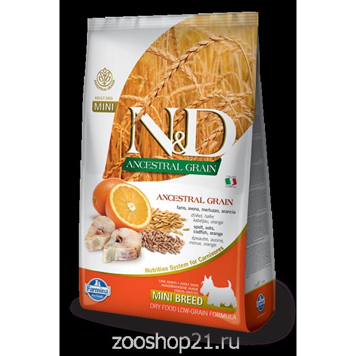 Корм Farmina N&D (Low Grain) Codfish & Orange Adult Mini для собак мелких пород с низким содержанием зерна треска с апельсином, 2.5 кг