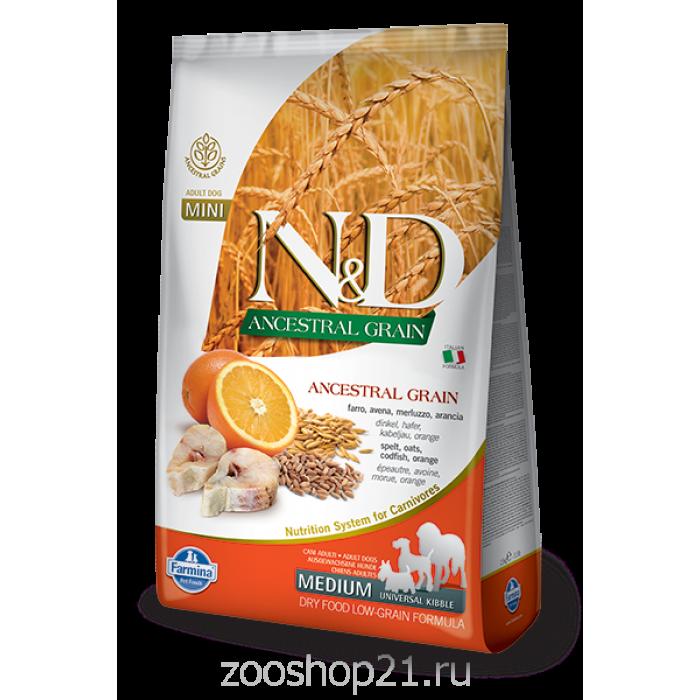 Корм Farmina N&D (Low Grain) Codfish & Orange Adult для собак с низким содержанием зерна треска с апельсином, 12 кг