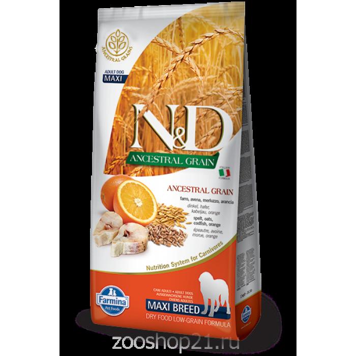 Корм Farmina N&D (Low Grain) Codfish & Orange Adult Maxi для собак крупных пород с низким содержанием зерна треска с апельсином, 12 кг