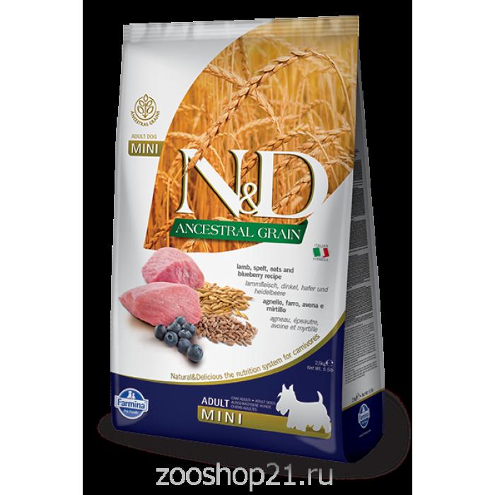 Корм Farmina N&D (Low Grain) Lamb & Blueberry Adult Mini для собак мелких пород с низким содержанием зерна ягненок с черникой, 2.5 кг