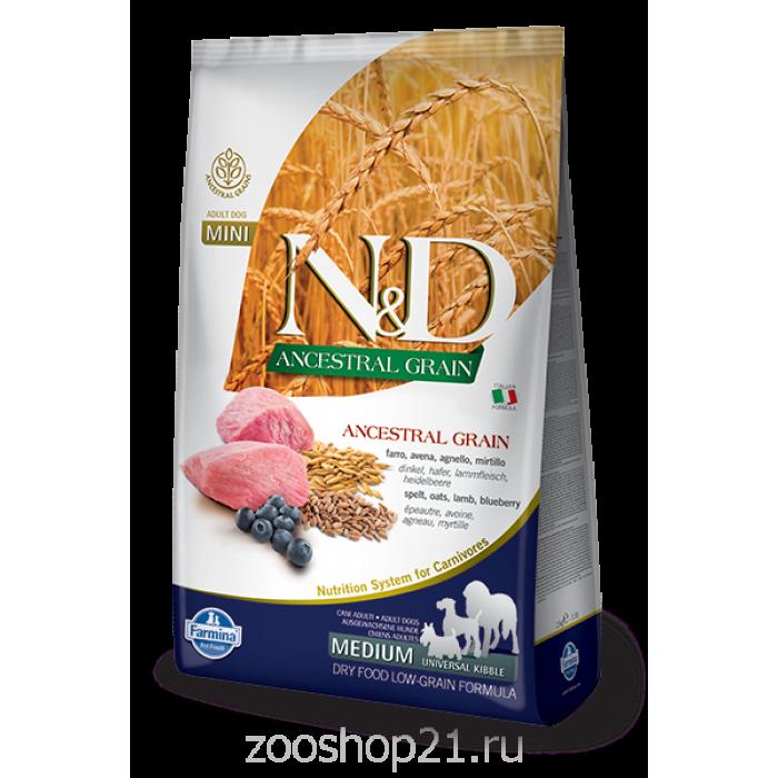 Корм Farmina N&D (Low Grain) Lamb & Blueberry Adult для собак с низким содержанием зерна ягненок с черникой, 12 кг