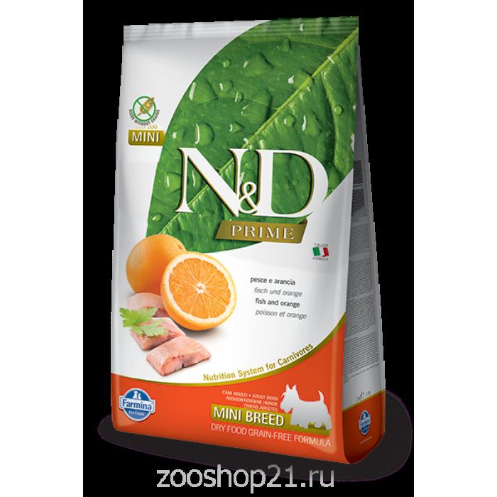 Корм Farmina N&D Fish & Orange Adult Mini беззерновой для взрослых собак мелких пород рыба с апельсином, 2.5 кг