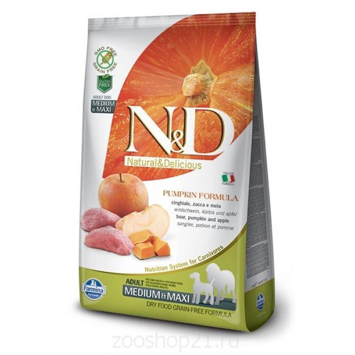 Корм Farmina N&D Pumpkin Boar & Apple Adult Medium/Maxi беззерновой для собак средних и крупных пород кабан с яблоком и тыквой, 12 кг