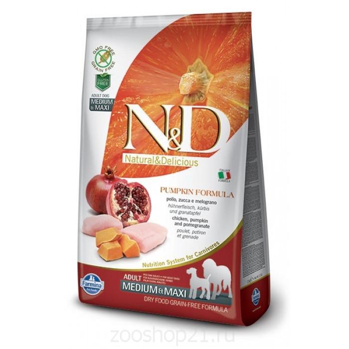 Корм Farmina N&D Pumpkin Chicken & Pomegranate Adult Medium/Maxi беззерновой для собак средних и крупных пород курица с гранатом и тыквой, 2.5 кг