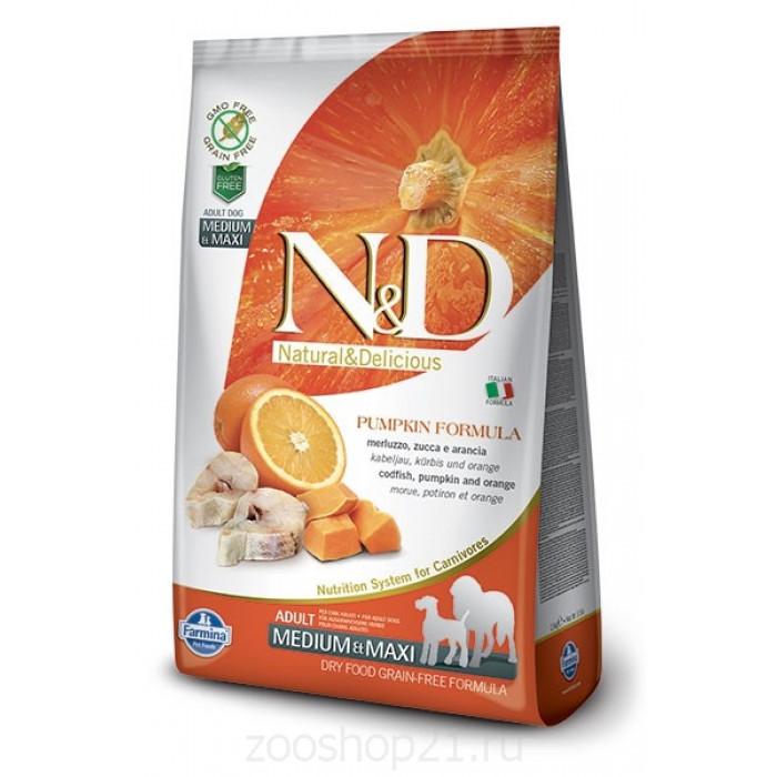 Корм Farmina N&D Pumpkin Codfish & Orange Adult Medium/Maxi беззерновой для собак средних и крупных пород рыба с апельсином и тыквой, 12 кг