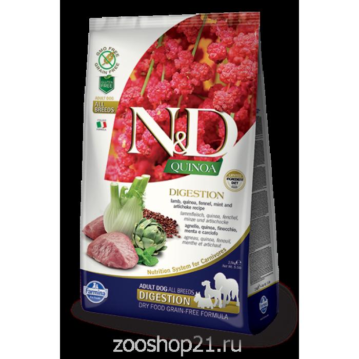 Корм Farmina N&D Quinoa Digestion Lamb беззерновой для собак с чувствительным пищеварением киноа и ягненок, 2.5 кг