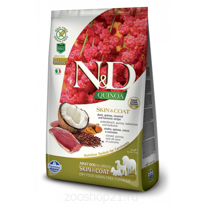 Корм Farmina N&D Quinoa Skin & Coat Duck беззерновой для собак для кожи и шерсти киноа и утка, 2.5 кг