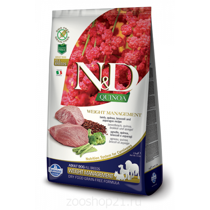 Корм Farmina N&D Quinoa Weight Management Lamb беззерновой для собак контроль веса киноа и ягненок, 800 г