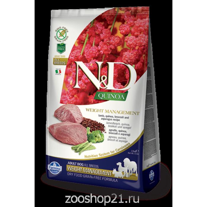 Корм Farmina N&D Quinoa Weight Management Lamb беззерновой для собак контроль веса киноа и ягненок, 2.5 кг