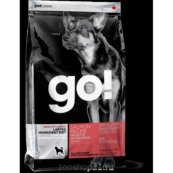 Корм Go! Sensitivity & Shine LID Salmon/ Grain&Potato Free беззерновой для собак и щенков с чувствительным пищеварением с лососем, 2.72 кг